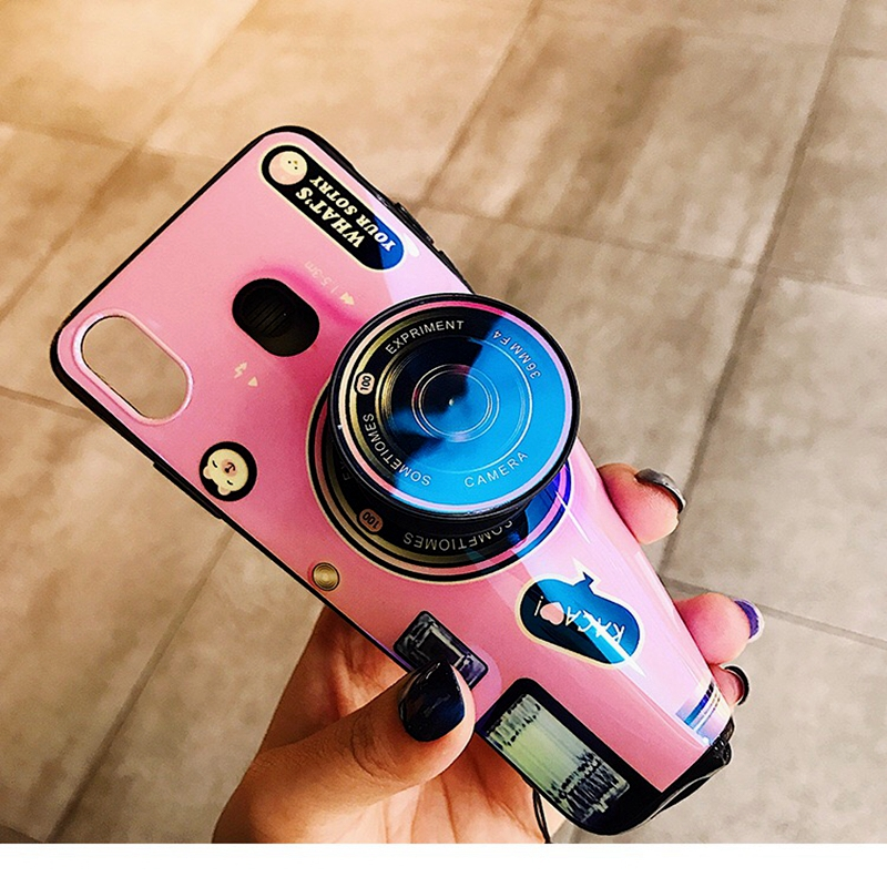 For ASUS ZB601KL Phone Case Retro Camera Pattern Soft TPU Silicone Cute Camera Hidden Stand Holder Cover For ASUS ZB601KL Case in Fitted Cases from Cellphones Telecommunications