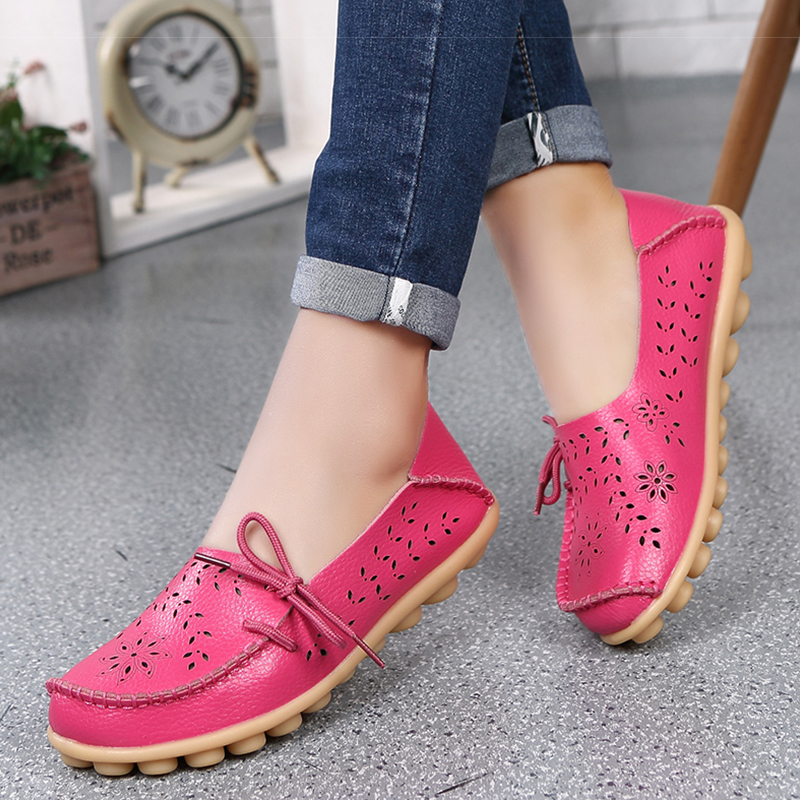 Women Genuine Leather Shoes Slip On Loafers Woman Soft Nurse Ballerina Shoes Women Flats