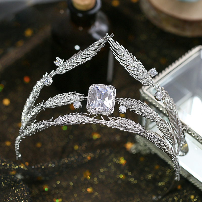 Bavoen Sparkling Crystal Wedding Hair Accessories Brides Royal Princess 4A Zircon Hairbands Queen Silver Tiaras Crowns klotz mc2000sw