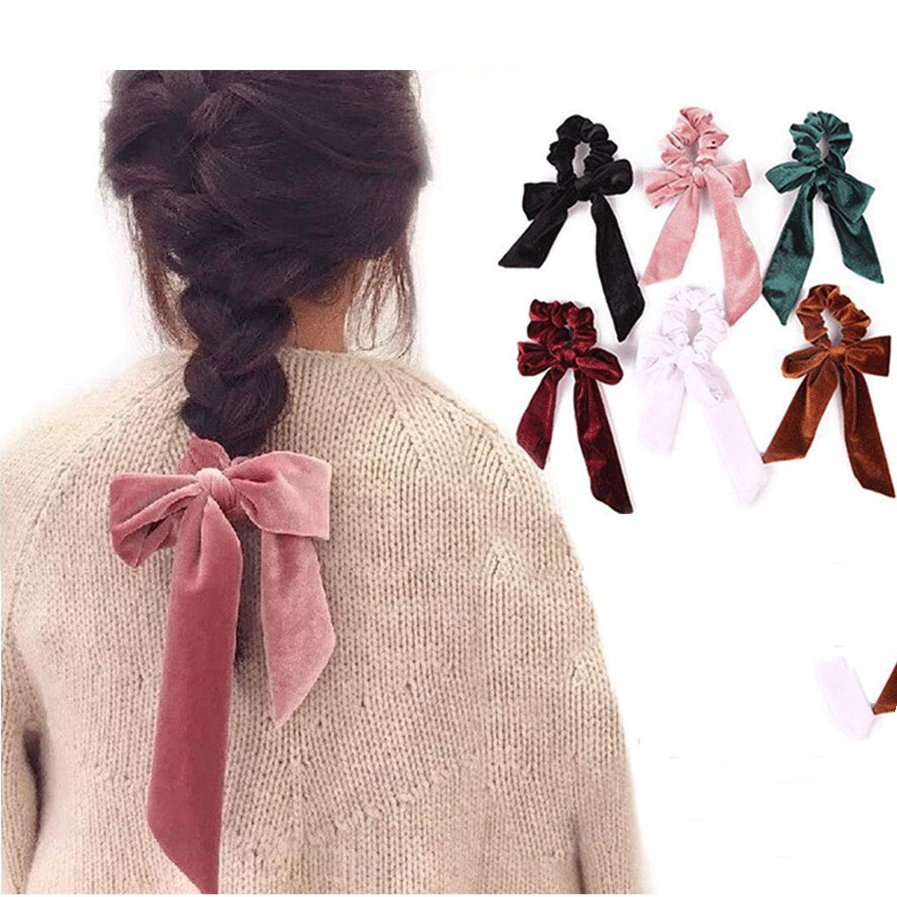 New arrival womens Ribbon bow velvet hair Scrunchies Hair Tie Accessories Ponytail Holder