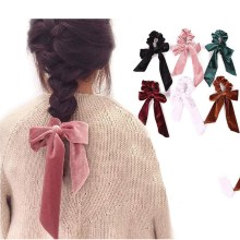 New arrival womens Ribbon bow velvet hair Scrunchies Hair Tie Accessories Ponytail Holder