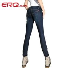 ERQ 2017 new fashion Plus size skinny straight stretch high waist women jeans high quality casual pencil pants elastic 90201