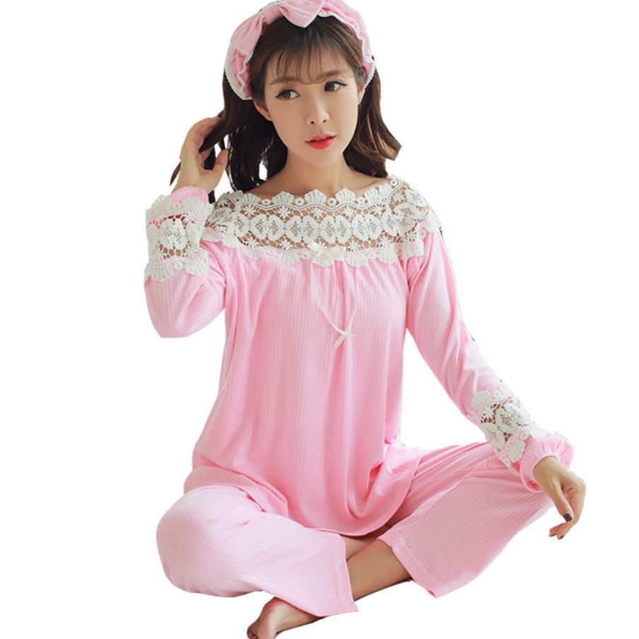 dac8ff77c0c Long Sleeve Nursing Pajamas Suit Lace Maternity Sleepwear Set for  Breastfeeding Woman Maternity Clothes Maternity Sleepwear ~ Free Shipping  May 2019