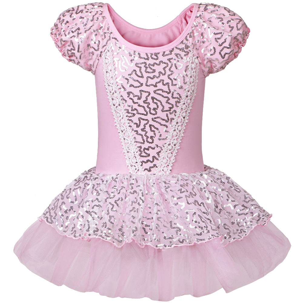 Buy Cheap 2016 Good Quality Kid Girls Short Sleeve Pink Ballet Dress Leotards Ballet Dress Gymnastic Dress with Sequin For SZ 2~8
