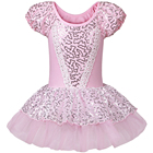 Cheap 2016 Good Quality Kid Girls Short Sleeve Pink Ballet Dress Leotards Ballet Dress Gymnastic Dress with Sequin For SZ 2~8