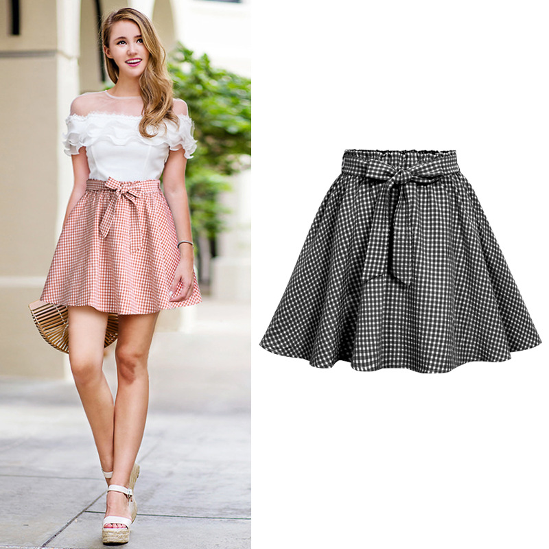 Wholesale Women Casual Skirts Summer High Waist Plaid Cotton Skirt Vintage Large Size 6XL Skirts With Lining for Female 1700 in Skirts from Women 39 s Clothing