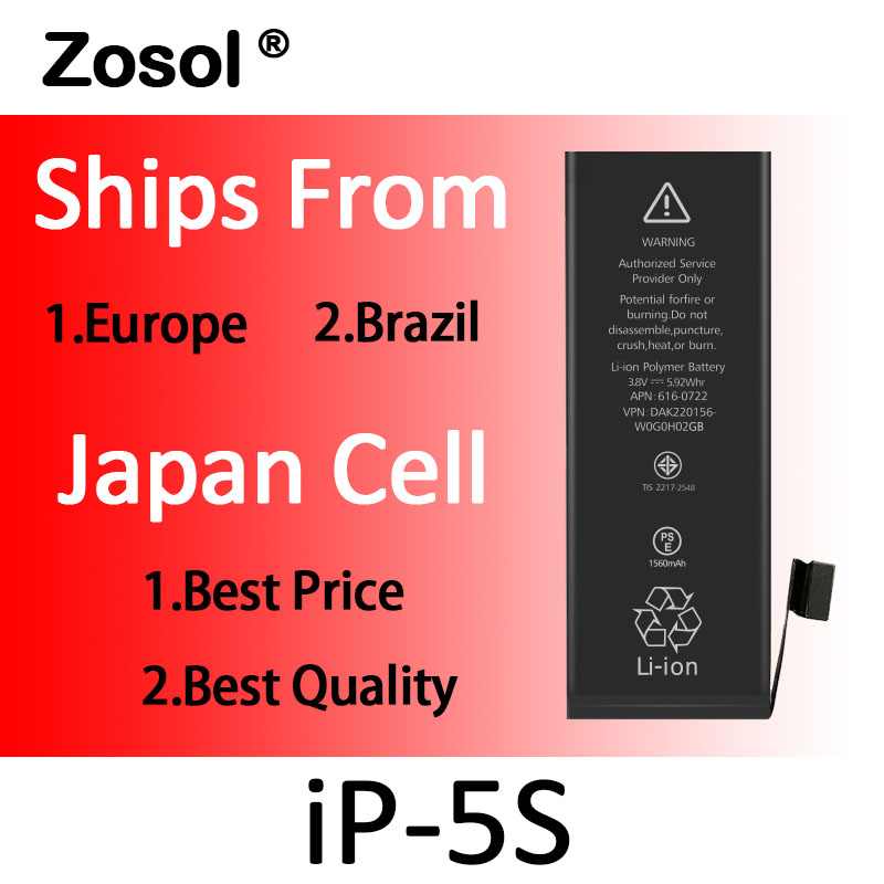 10pcs/lot Origin Japan Cell Battery For iPhone 5S iPhone5s Replacement Batterie Internal Bateria For iPhone 5S