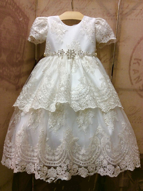 New A Line Short Sleeves Christening Gown Beading Appliques Baby Girls Baptism Dress White Ivory Any Size vintage baby girl christening dresses a line beading short sleeves solid white and ivory vestido infantil menina baptism gowns
