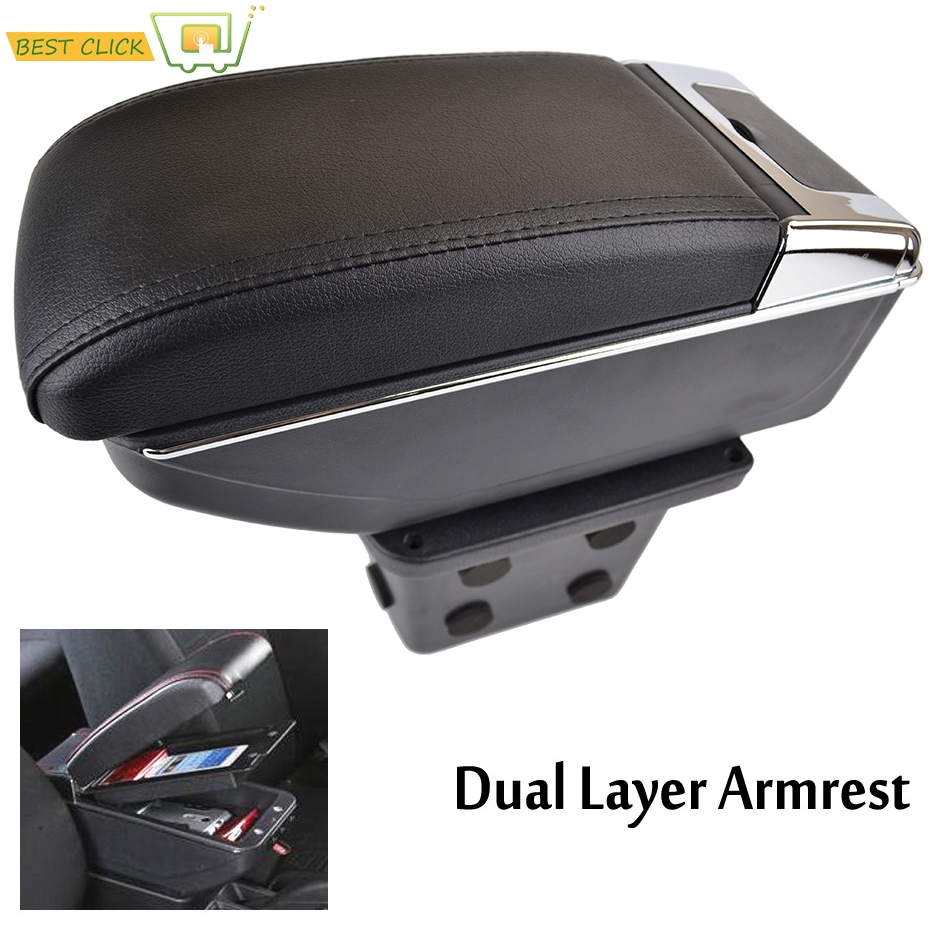For Hyundai Elantra Touring I30 FD I30cw 2007-2011 Dual Layer Armrest Arm Rest Center Console Storage Box Leather 2008 2009 2010
