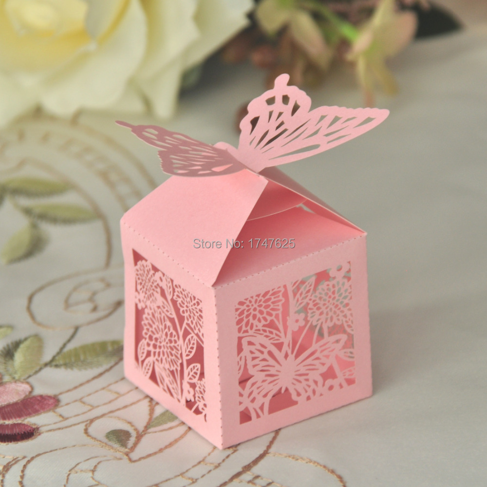 60pcs Pink Butterfly Wedding Favor Gifts Boxes Wedding Candy Box ...