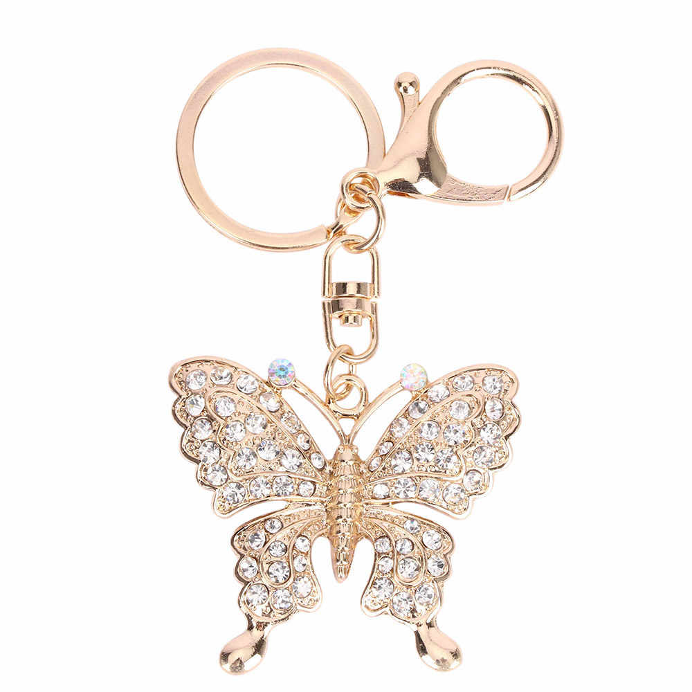 Fashion Butterfly Keychain Lovely Crystal Charm Pendant Key Ring Keychain Exquisite Rhinestone Jewelry Gifts