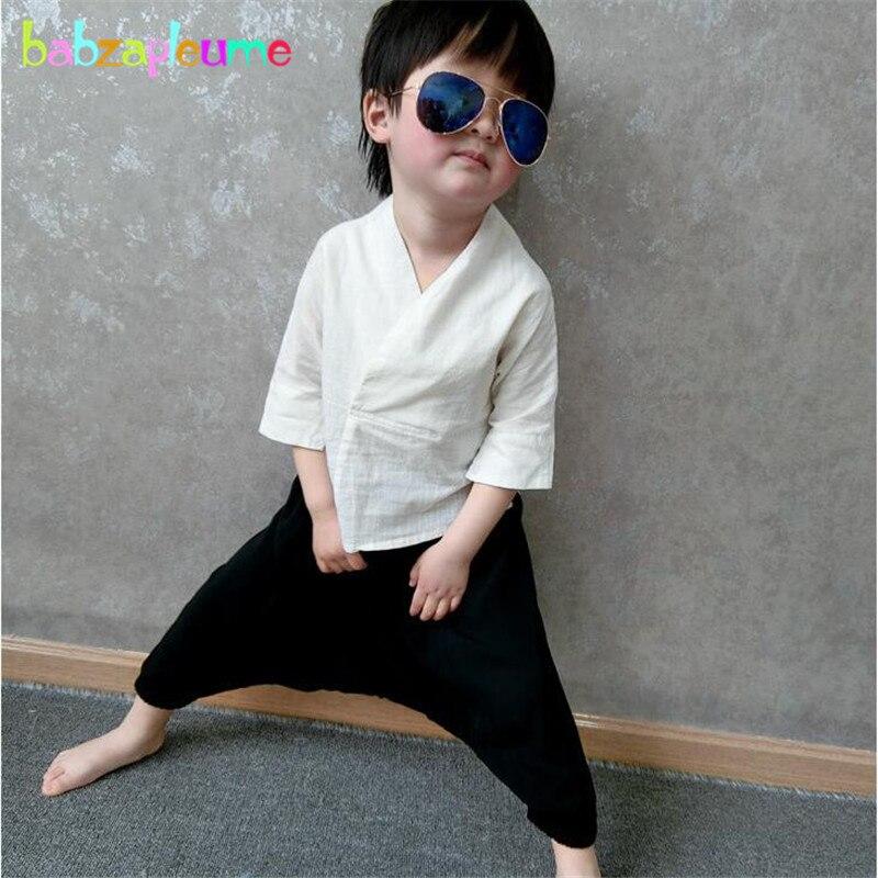 Осень китайский Стиль маленьких Обувь для девочек эксклюзивная одежда тренировочный костюм для мальчиков футболка + штаны-шаровары 2 шт./ко...