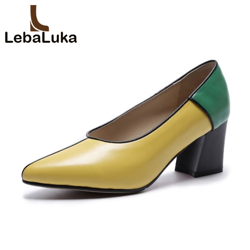 LebaLuka women high heel shoes fashion square heel pointed toe mixed color square heel real leather shoes women size 34-39 new arrival multi ab color wedding shoes women s pumps luxury crystal shoes pointed toe square heel sheepskin real leather shoes