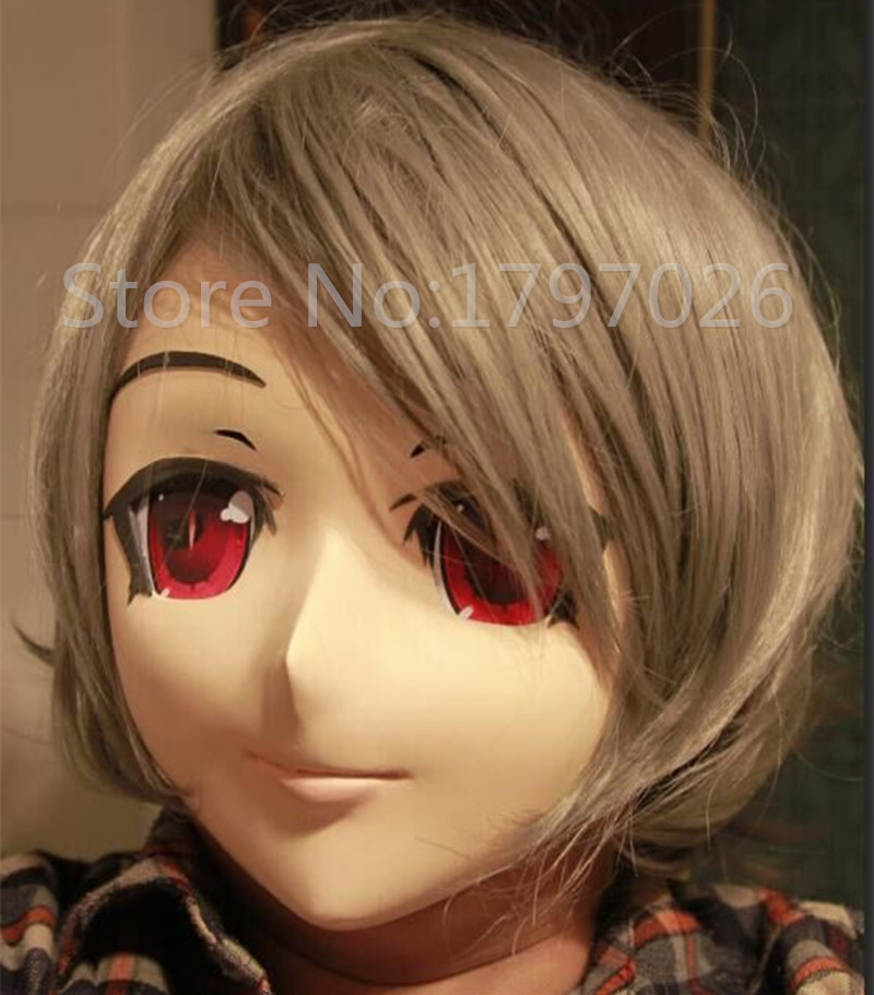 hot sale silicone half head kigurumi face short hair red eye anime kigurumi mask cosplay role eye color can be customize