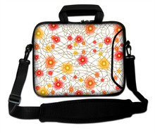 "Neoprene Netbook Baldric Sash Bag Red And Orange Flowers Type Laptop Handle Carring Shoulder Pouch10""13""14""15""17''  For Toshiba"