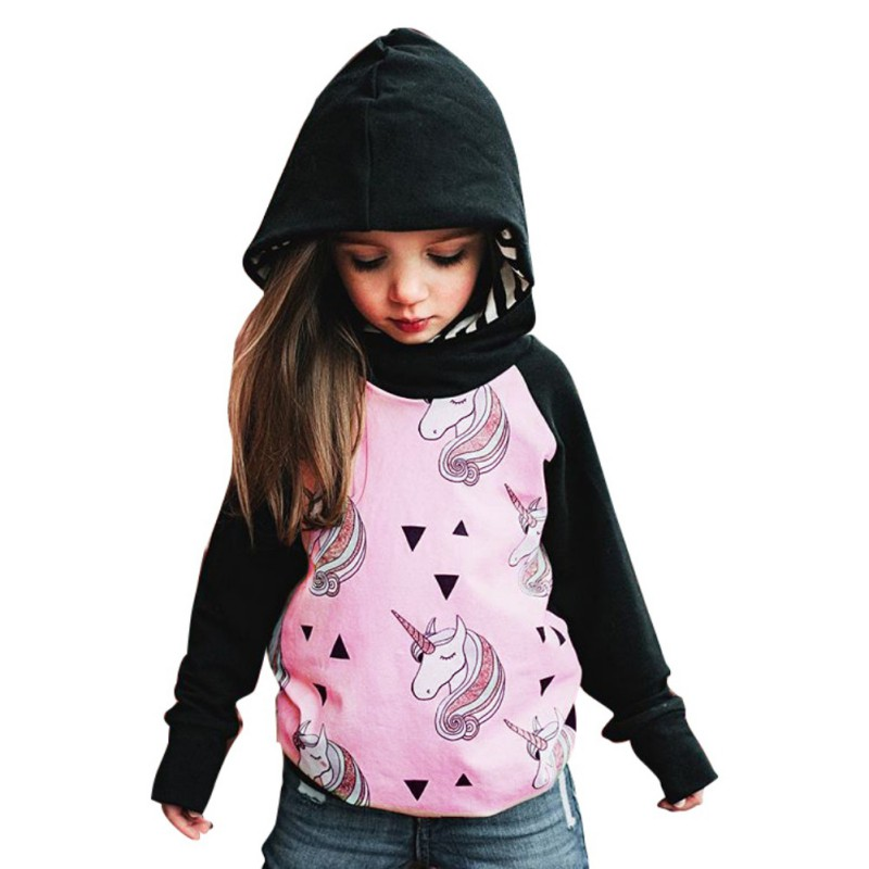 Autumn Children Hoodies Boys Girls Clothing Unicorn Pirnted Long Sleeve Hooded Jacket Outerwear For 2-6 Years