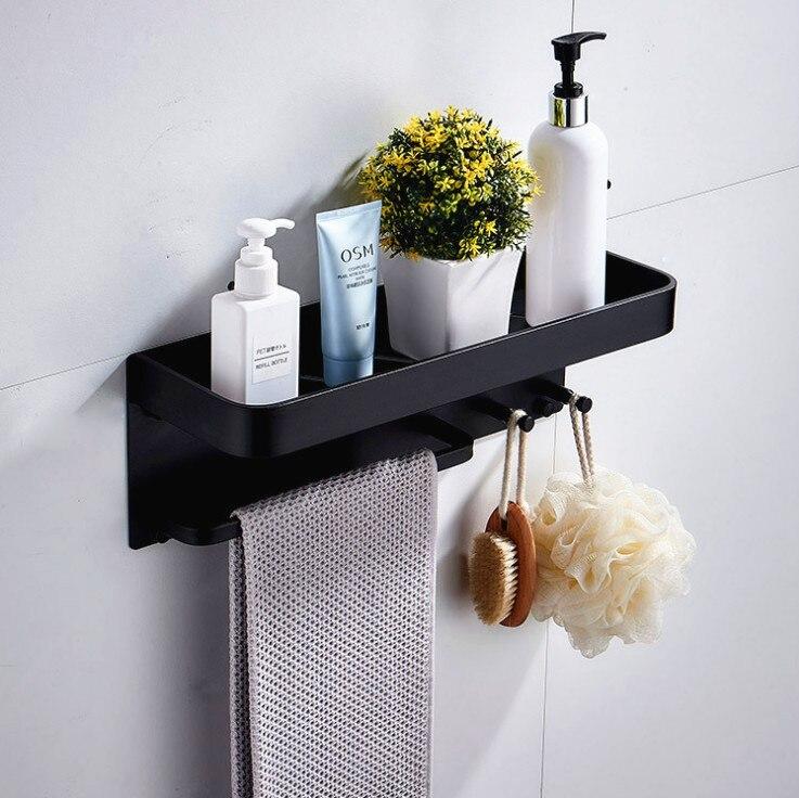 Black Space Aluminum Bathroom Shelves With Hooks Wall Mount Bathroom Shelf Bath Storage Rack Towel Holder