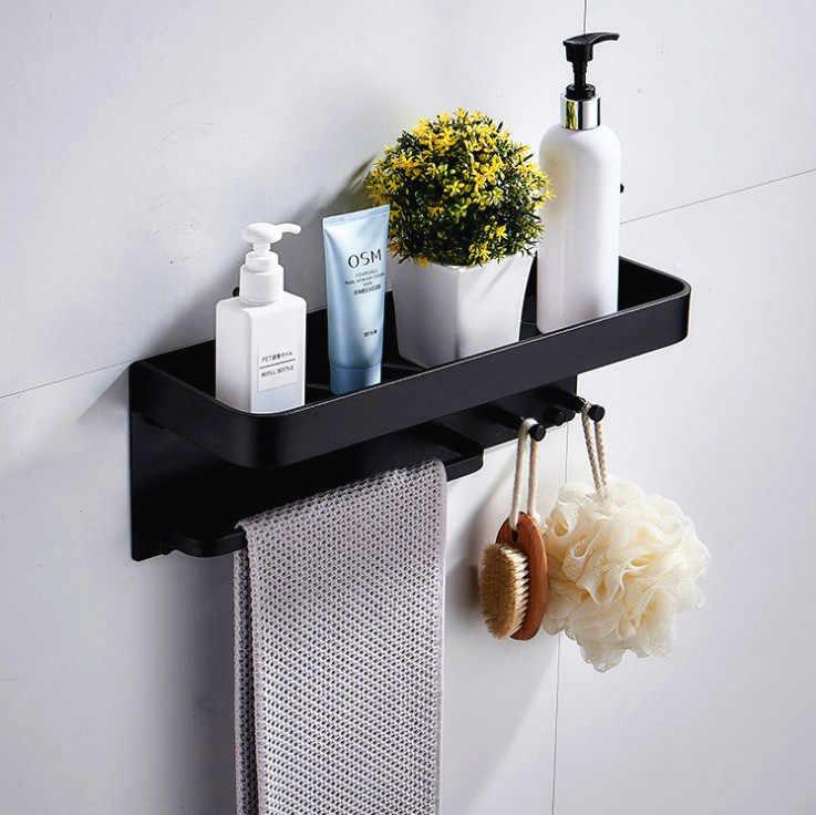 Nero In Alluminio Spazio del Bagno Ripiani Con Ganci per Montaggio A Parete Bagno Mensola Da Bagno Rack di Stoccaggio Porta Asciugamani di carta
