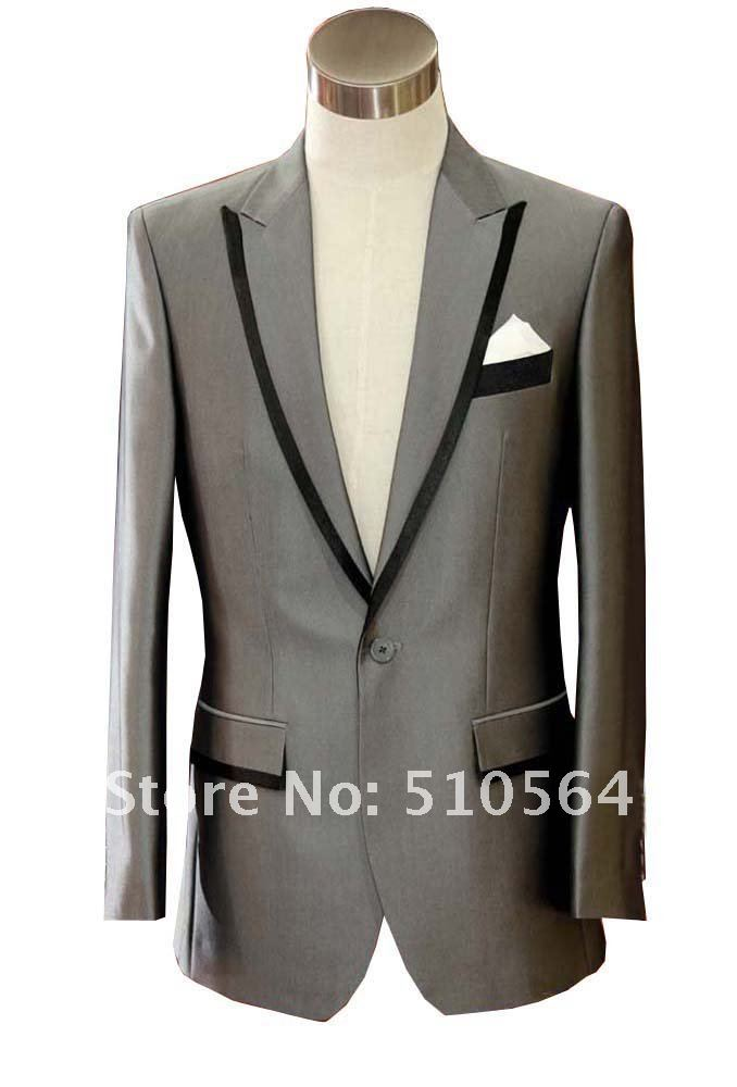 Wholesale Free shipping Custom made Silk & polyester Tuxedos Groom Groomsman Wedding Men Suits Bright Gray Suit Jacket & pants