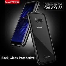 Luphie бренд алюминиевый металлический каркас case задняя крышка для samsung galaxy s8/s8 плюс + 9 h прозрачного закаленного стекла
