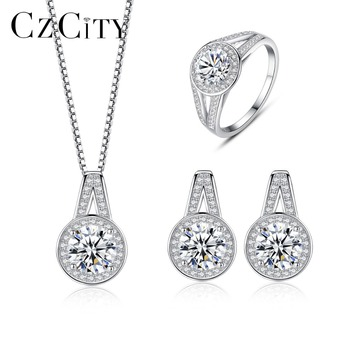 CZCITY Elegant Genunie Silver 925 Wedding Bridal Jewelry Sets for Women CZ Crystal 925 Silver Engagement Jewelry Accessories