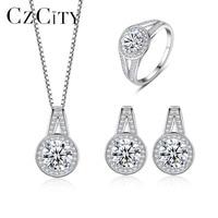 CZCITY Elegant Genunie Silver 925 Wedding Bridal Jewelry Sets for Women CZ Crystal 925 Silver Engagement Jewelry Accessories