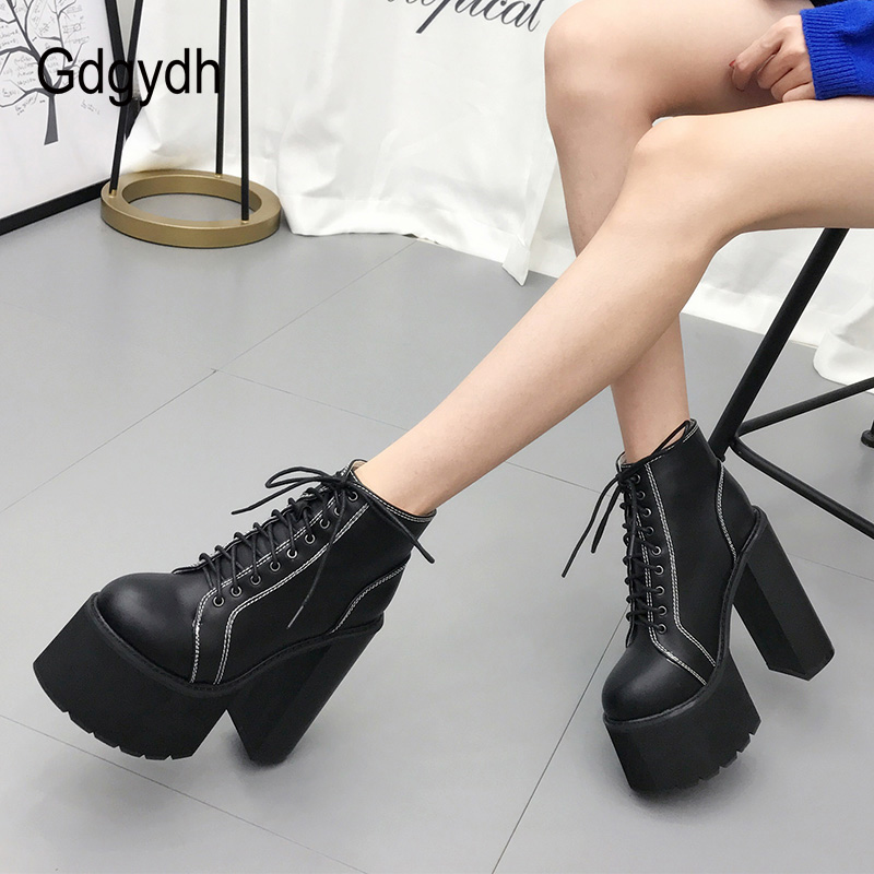 Gdgydh Autumn Women Boots Platform Black High Heel Lace Up Ladies Casual Shoes Square Heel Ankle