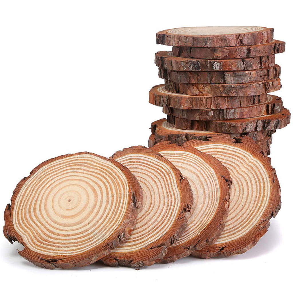 12Pcs Unfinished Natural Round Wood Slices Circles Tree Bark Log Discs For DIY Crafts Wedding Party Painting Ornaments Decor