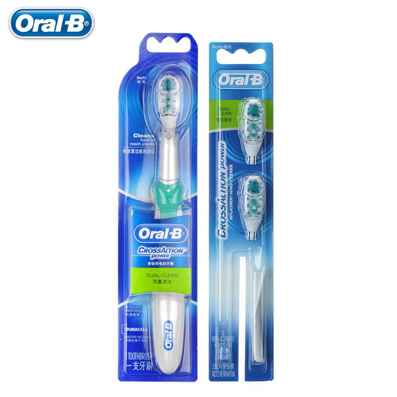 Original Oral B Cross Action Power Battery Electric Toothbrush Dual Clean Whitening Random 1 Teeth Brush + 2 Replaceable Heads 28pcs set mini micro hss4241 twist drill bits set metric sizes 0 3 3 0mm for pcb crafts thin aluminum iron sheet plastic