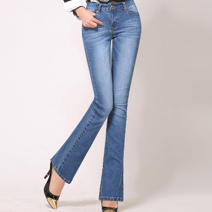 High Waist Flare Jeans Pants Plus Size Stretch Skinny -4493