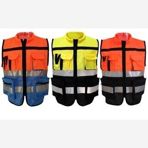 Image 2 - Светоотражающий Жилет высокой видимости, предупреждающий жилет, флуоресцентная одежда с множеством карманов, уличная безопасность, рабочая одежда для дорожного движения