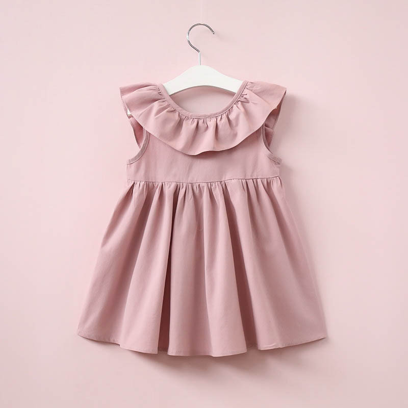 Lollas 2018 Summer New Casual Style Fashion Sleeve Girls Bow Dress Girl Clothing for Children Cute Dresses
