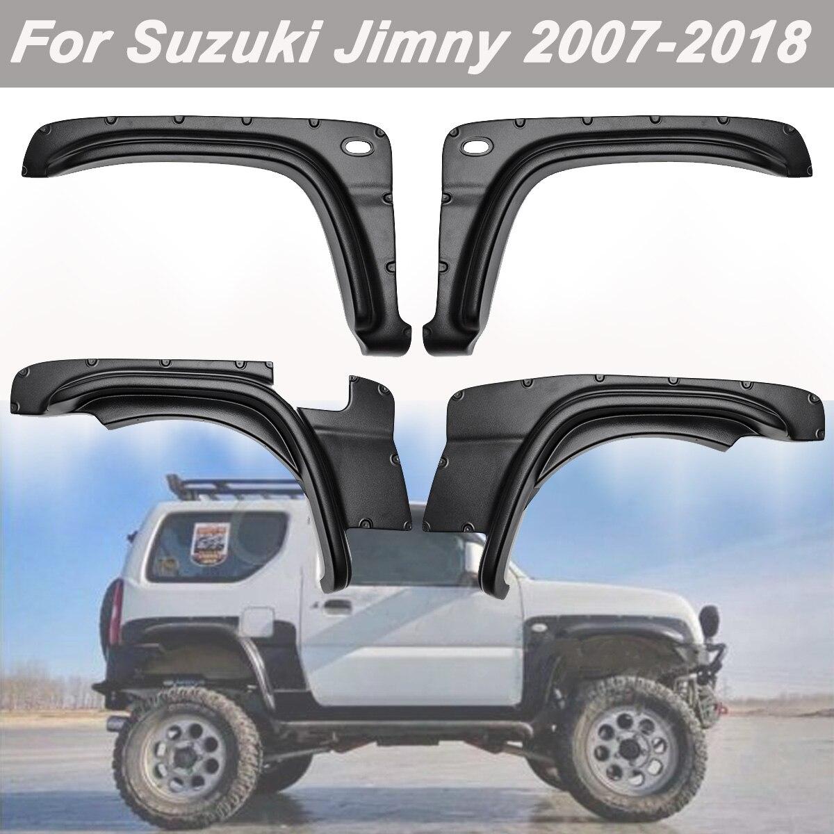 4 個車のホイールの眉毛ラウンドアークフェンダー泥フラップマッドガードスズキジムニー用 2007-2017