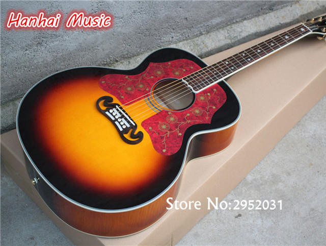 Free Shipping 43 Inch Folk Acoustic Guitar Sunburst Color Red