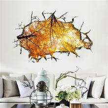 Nature Autumn Trees View 3D Broken Wall Family Home Wall Sticker PVC Wallpaper Decal For Living Room Floor Ceiling Decoration(China)