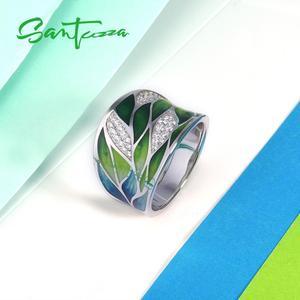 Image 4 - SANTUZZA Silver Rings For Women Genuine 925 Sterling Silver Green Bamboo leaves Luminous CZ Trendy Jewelry Handmade Enamel