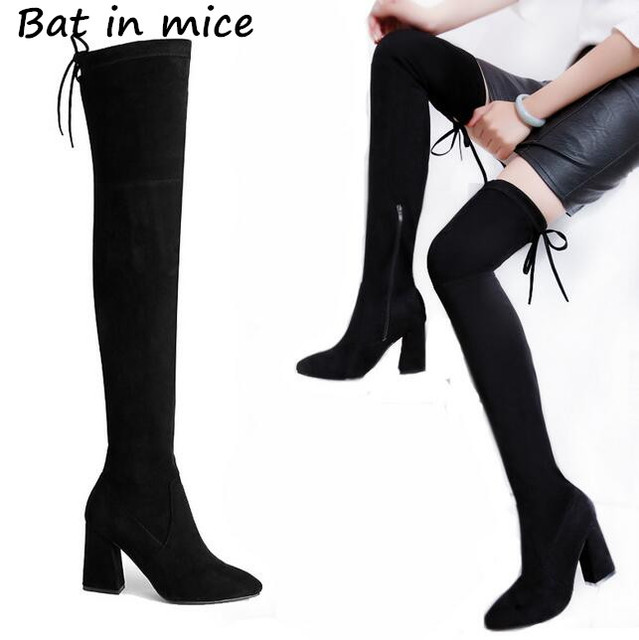 8106971e843 Women boots winter slim over knee high boots lace-up sexy tight high boots  women winter snow boots high heels comfortable Z236
