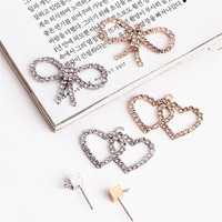 Mini Order 10PCS Crystal Rhinestone Jewelry Necklace Pendants Gold Silver Tone Plated Metal Alloy Ribbon Bow