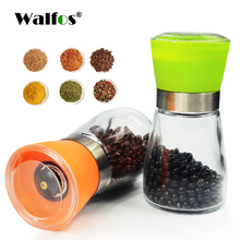 WALFOS Pepper Grinder Mill Plastic Glass Salt Herb Spice Hand Manual Pepper Mill Cooking BBQ Seasoning Mills Kitchen Tools