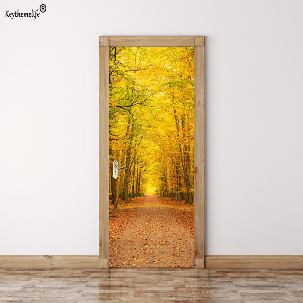 Keythemelife 2pcs/set Fall Leaves Door Wall Stickers DIY Mural Home ...