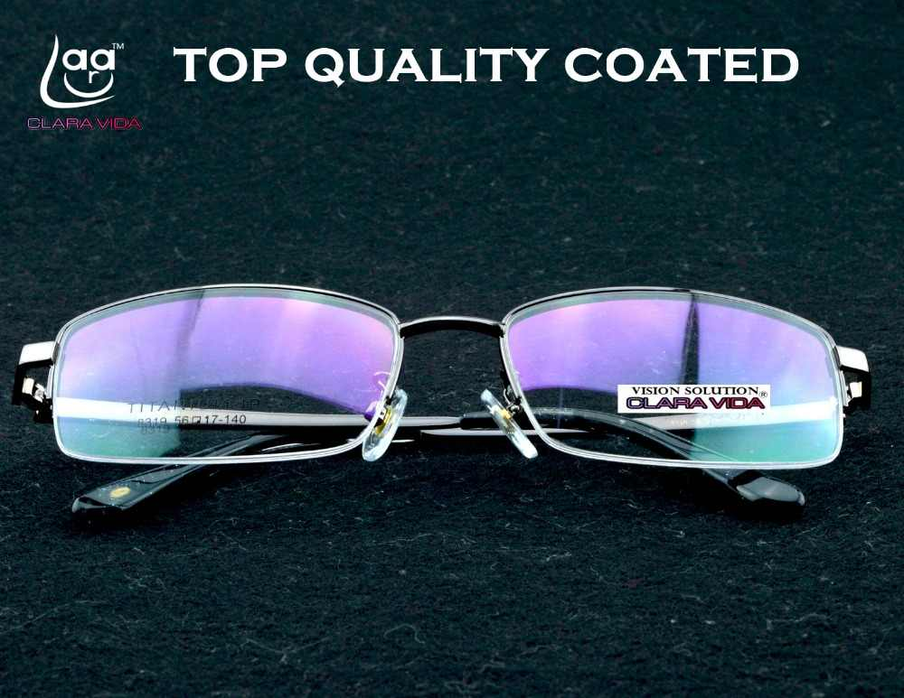 Gafas =clara Vida=men 100% Titanium Half Rim With Silicon Nose Pads Wall Street Genius Style Glasses Frame Customize Available
