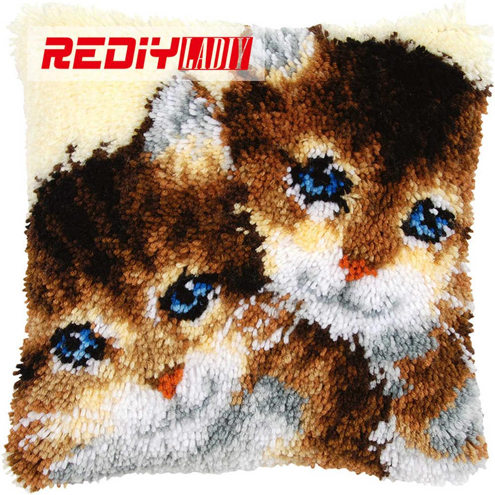 REDIY LADIY защелка Крюк Подушка животное два котята Подушка Диван Декор пряжа для вязания крючком наборы для вышивки предварительно напечатанный цветной холст