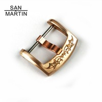 San Martin Watch Band Clasp 22mm Carved Bronze Brass Leather Watchbands Strap Pin Buckle Belt Watch Accessories