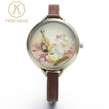 Relojes Mujer Miss Keke Clay Cute Mini World Golden Guitar Watch Relogio Feminino Ladies Women Quartz Leather Wristwatches 1051