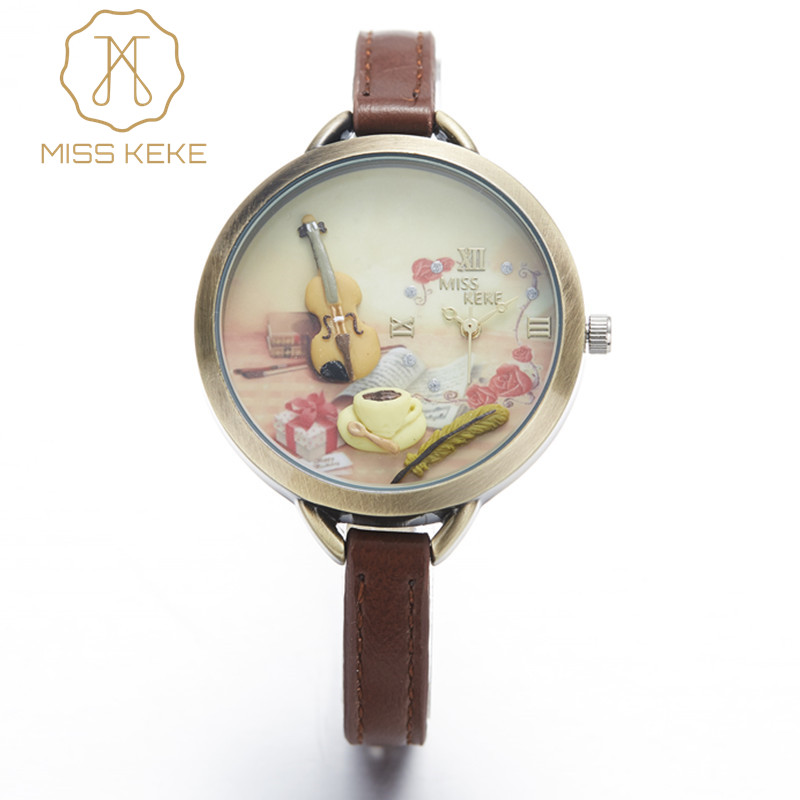 Relojes Mujer Miss Keke Clay Slatka Mini World Zlatna gitara Watch Relogio Feminino Dame Žene Quartz Leather Ručni satovi 1051