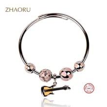 Zhaoru Authentique 925 Sterling Silver Bangle with Pink Enamel Crystal bracelet for Women Fashion Fine Jewelry Silve Bangle цена