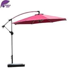 PurpleLeaf patio outdoor garden parasol 9ft/10ft Circular cantilever  UV protection umbrella