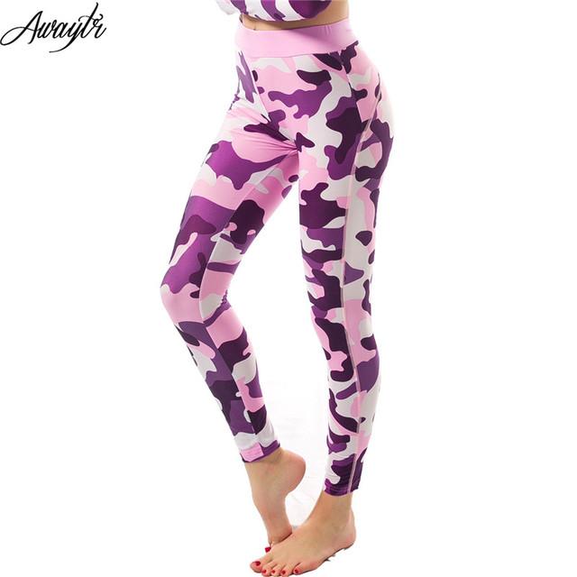 Awaytr 2017 ocio de las mujeres pantalones femeninos pantalones de cintura elástica pantalones de camuflaje leggings mujeres capris transpirable