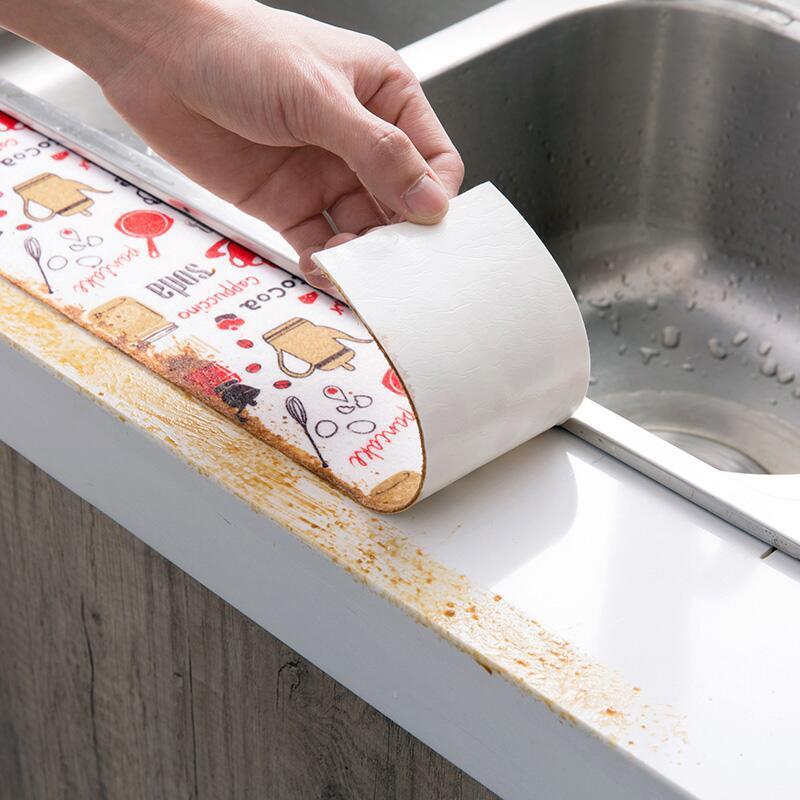8*280CM Self Adhesive Kitchen Ceramic Sticker Waterproof Anti-moisture PVC Sticker Bathroom Wall Corner Line Sink Stickers