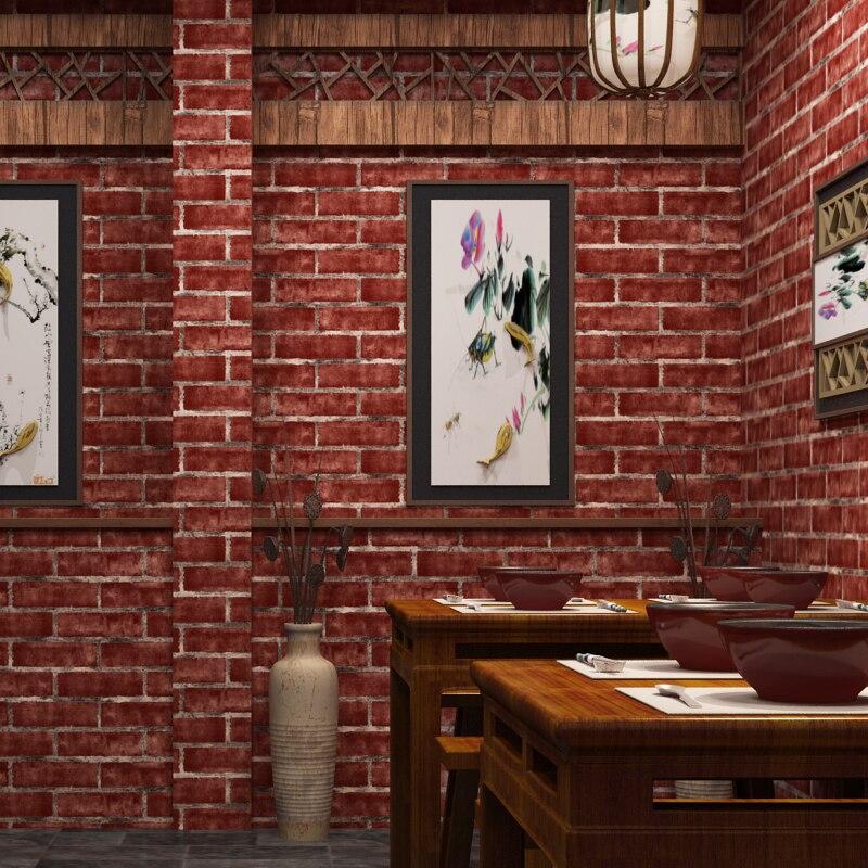 Beibehang papel de parede 3d chinois rétro imitation brique PVC papier peint restaurant vêtements magasin hôtel salon papier peint